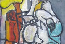 「川口軌外/鳥と人」1950年、油彩、12号P