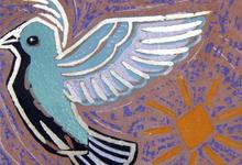 「深水賀秀/太陽と鳩」木版画、24×32cm