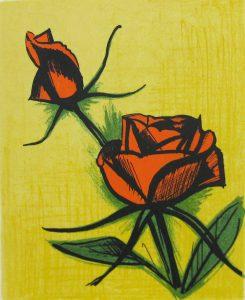 ベルナール・ビュッフェ「小さなバラ」1979年 リトグラフ 21×17㎝