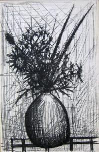 「ベルナール・ビュッフェ/あざみ」1952年、リトグラフ、32,5×50cm
