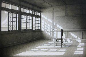 「山本桂右/Light time Silence m-D」リトグラフ、32,5×50cm