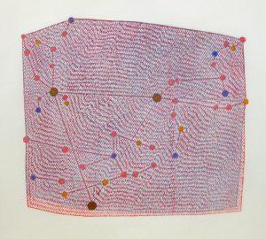 「竹﨑勝代/Spring Triangle:春の大三角形」2013年、木版画、41×45.5cm