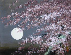 「稗田一穂/春宵爛漫」日本画、6号