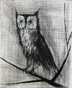 ベルナール・ビュッフェ「梟」1963年 ドライポイント 65,5×50,5㎝
