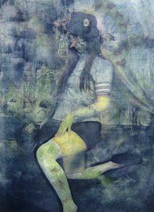 小林美佐子「化粧 其の二」2012年 銅版画、リトグラフ、手彩色 72.7×53cm パネル貼り