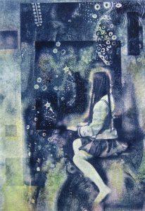 小林美佐子「夜の窓辺」2017年 銅版画、リトグラフ、手彩色 23×16㎝ パネル貼り