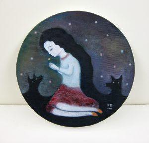 本田征爾「星に祈を」油彩 Ф15cm