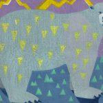 柿本俊文「冬の雷は大いに風吹く」2018年 木版画 41×51.5cm