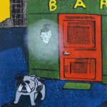 柿本俊文「帰り道/ barの犬」2017年 木版画 23×22cm