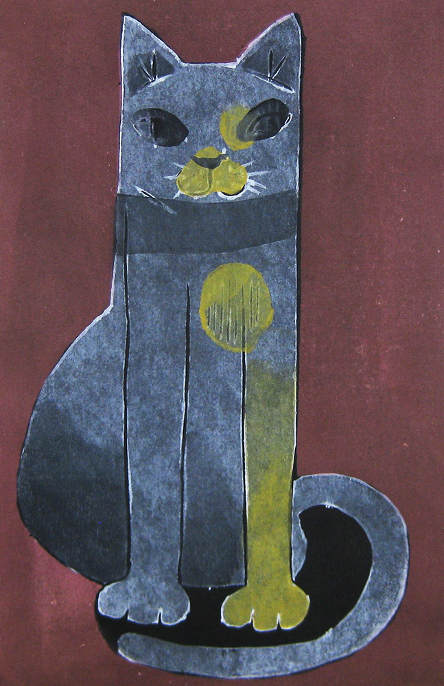 柿本俊文「ねこ」2014年 木版画、24×10cm ¥17,280(シート)
