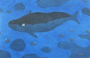 柿本俊文「クジラのいる島々」2015年 木版画 21×31cm ¥17,280(シート)