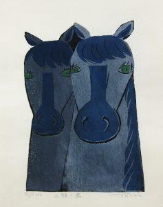 柿本俊文「二頭の馬」2015年 木版画 22×15cm ¥16,200(シート)
