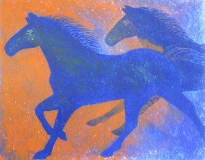 柿本俊文「駆ける2」2016年 木版画 36×45cm ¥27,000(シート)