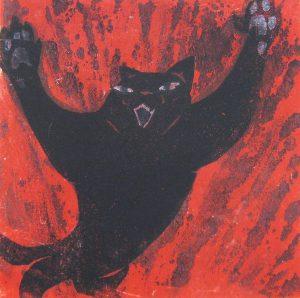 柿本俊文「ねこ」2016年 木版画 10×10cm ¥8,640(シート)
