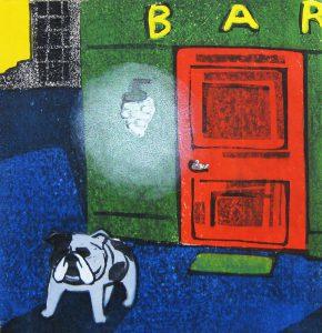 柿本俊文「帰り道/barの犬」2017年 木版画 23×22cm ¥21,600(シート)