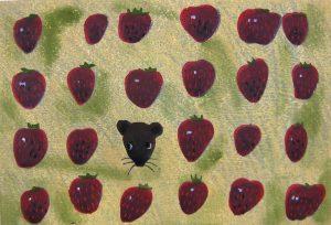柿本俊文「イチゴのかぞえかた」2017年 木版画 22.5×32.5cm ¥21,600(シート)