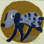 柿本俊文「歩く犬」2017年 木版画 7.5×8cm ¥5,400(シート)