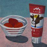 柿本俊文「苺とミルク/オンザテーブル」2017年 木版画 19×16.5cm ¥16,200(シート)