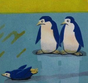 柿本俊文「ペンギンクラブ」2017年 木版画 15×15.8cm ¥10,800(シート)