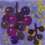 柿本俊文「葡萄の光」2017年 木版画 10×10.5cm ¥8,640(シート)