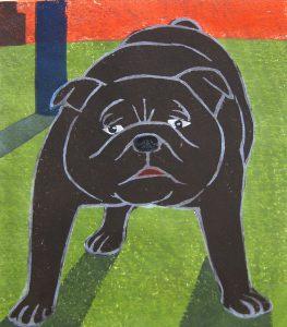 柿本俊文「よく会う犬」2018年 木版画 22×31cm ¥16,200(シート)