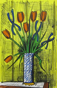 ベルナール・ビュッフェ「オレンジのチューリップと青いアイリス」リトグラフ 49.5×33cm