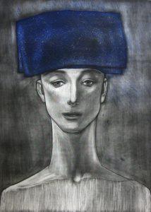 舟越桂「青い頭巾」2017年 メゾチント、ドライポイント、アクアチント 49.5×36㎝ ED:25