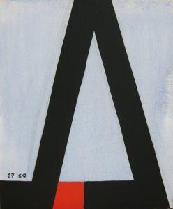 大沢昌助「赤と黒の記号」1989年 油彩 20号