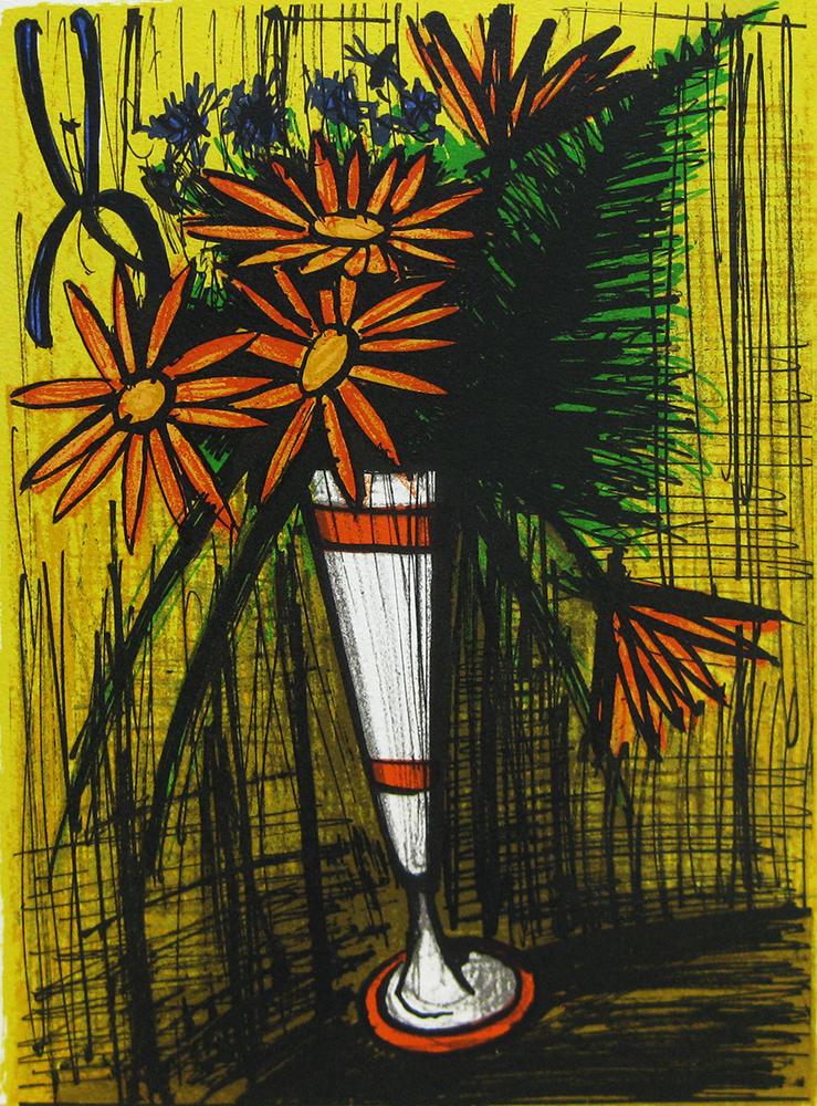 ビュッフェ「マザグランカップに挿した花」リトグラフ 33×24cm