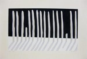 山中現「列」1982年 木版画 23×38cm