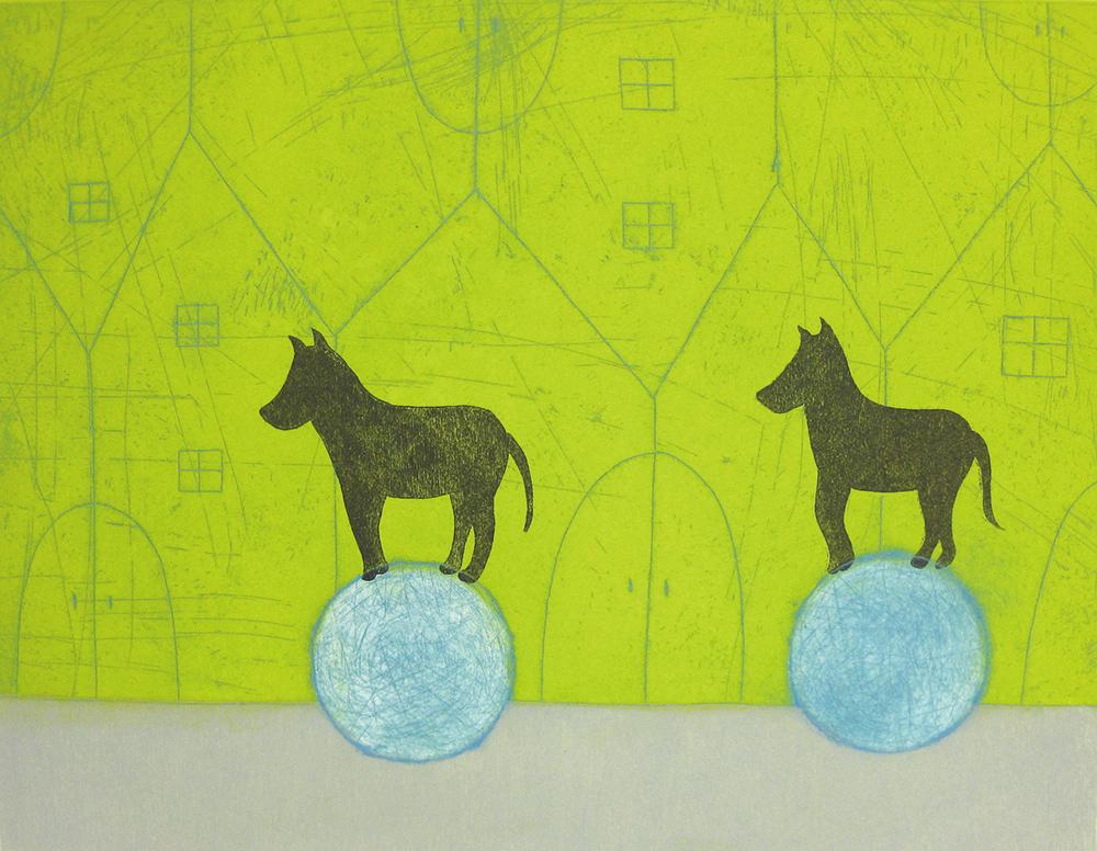 樋勝朋巳「手紙5」2019年 エッチング、アクアチント、ドライポイント 30×39cm
