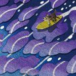 柿本俊文「流星のボード」2017年 木版画 22×17cm