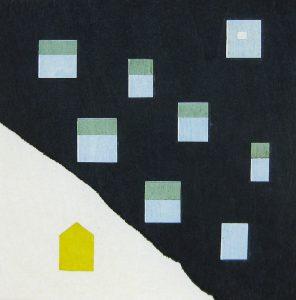 山中 現「夜の帳」2014年 木版画 15×15cm
