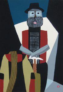 畦地梅太郎「老登山家」1978年 木版画 41×29cm