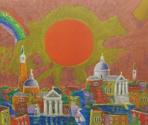 絹谷幸二「朝日ベネチア」リトグラフ 38×45,5cm