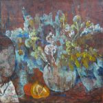 川口軌外「花と女」1940年頃 油彩 20号