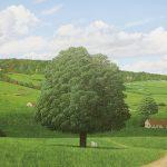 山本桂右「樹のある風景」油彩 20号