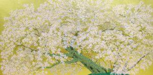 中島千波「阿蘇一心行の櫻」シルクスクリーン、本金箔 40×80cm