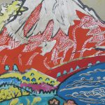 片岡球子「河口湖の赤富士」