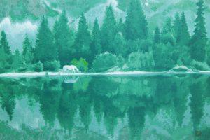 東山魁夷「湖澄む」新復刻版画 40,2×60,5cm