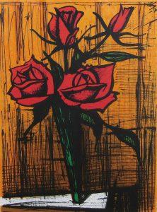 ビュッフェ「花瓶のバラ」リトグラフ 33×24cm