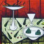 ビュッフェ「赤い背景の静物」リトグラフ 50,5×66cm