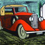 「ロールスロイス1926赤」1985年 リトグラフ 51×66cm