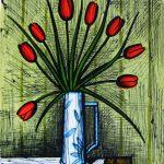 「チューリップのブーケ」1985年 リトグラフ 65×50cm