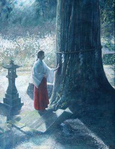 土井久幸「御霊が宿る木」クレパス 80号