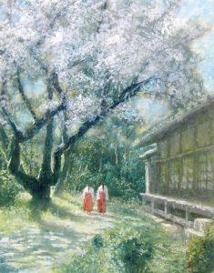 土井久幸「桜舞う頃」クレパス 10号