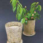出口絵衣子「葉脈鉢」H18×15×15cm