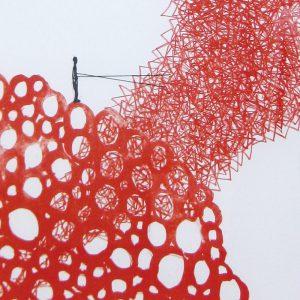 塩田千春「Untitle」リトグラフ、コラージュ 64,5×50cm