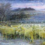 佐原 光「暮色(羊の群れ)」1979年 油彩 50号