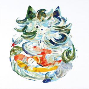 「Cat wave」2021年 油彩 6号